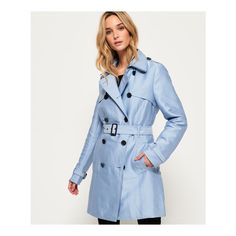 Superdry Belle Trench Coat ($140) ❤ liked on Polyvore featuring outerwear, coats, blue, blue trench coat, superdry coats, blue coat, metal coat and trench coats