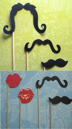 Moustaches and lips on a stick for photobooths.
