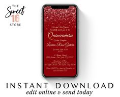 Quinceanera Text Invitation, SMS Instant Download Quince Invitations, Editable 15th Birthday Red & Gold Quinceanera Digital Invite Template Text Message Invitations, Digital Invitations, Birthday Text, 15th Birthday, Boyfriend Texts, Boyfriend Quotes, Quince Invitations, Sweet Text Messages, Guy Best Friend
