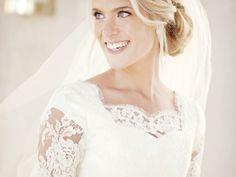Lace Elbow Sleeve Modest Wedding Dress
