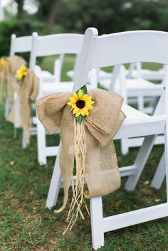 Sunflower and Burlap Bow Aisle Decor