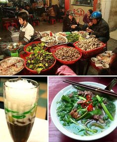 Hanoi, Vietnam - the simple flat noodle soup with beef or chicken called phở, which can be found throughout the city and is emblematic of Vietnamese cuisine; a glass of chè, a thick goopy drink starring green beans, black beans, corn, lotus seeds or taro served over crushed ice and topped with sweetened condensed milk.