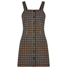 Joy Arabella Button Front Check Pinafore Dress ($44) ❤ liked on Polyvore featuring dresses, stretchy dresses, brown fitted dress, pinafore dress, stretch dress and checkered dress