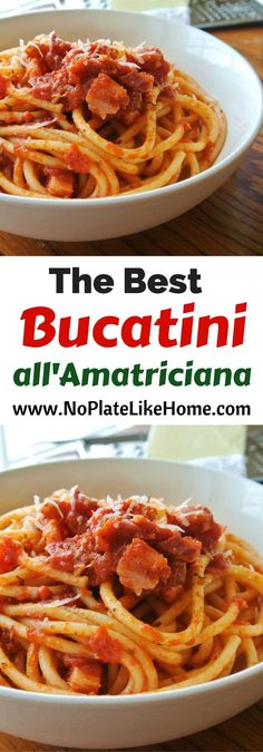 This simple and delicious Roman pasta dish, Bucatini all'Amatriciana, is made with pancetta (similar to bacon,) bucatini pasta (similar to spaghetti,) and diced tomatoes. This easy Italian homemade sauce recipe is flavorful and will please a crowd. Pasta Amatriciana, Bucatini Pasta, Tortellini Pasta, Pasta Sauce Recipes, Cooking Recipes, Kitchen Recipes, Homemade Spaghetti Sauce, Italian Recipes, Pizza