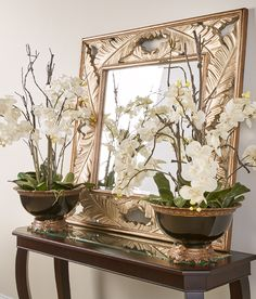 Manhattan Orchid with Martinique Mirror Hamptons House, The Hamptons, Mirror Mirror, Mirrors, Blush Living Room, Standing Table, British Colonial Style, Small Entryways, Tropical Design