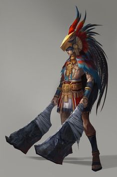 Tribal Hero (aztec eagle warrior) by Ryan Ching Fantasy Male, Fantasy Warrior, Character Concept, Character Art, Concept Art, Character Ideas, Fantasy Inspiration, Character Design Inspiration, Aztec Warrior