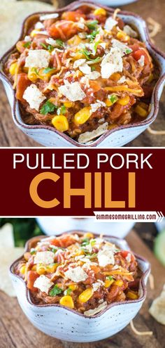 The cold weather calls for a big bowl of this comfort food! Thanks to leftover smoked pulled pork, this recipe is super easy and a nice change on the regular chili. Loaded with diced tomatoes, beans, onions, and spices, this hearty is guaranteed to warm you up! Easy Homemade Recipes, Fun Easy Recipes, Homemade Soup, Easy Meals, Healthy Recipes, Pulled Pork Chili, Pulled Pork Recipes, Curry Recipes, Chili Recipes