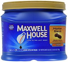 Maxwell House Ground Coffee Master Blend Mellow & Smooth Flavour lock lid z Coffee Mix, Blended Coffee, Coffee Cafe, Coffee Drinks, Coffee Shop, Coffee Lovers, Maxwell House Coffee, Best Deals On Laptops, Cheap Coffee