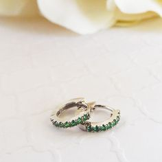 Emerald green White Gold Huggies CZ micro pave hoop earrings XS huggies white gold plated Huggies Everyday emerald wrap earrings by LasyaJewelry on Etsy