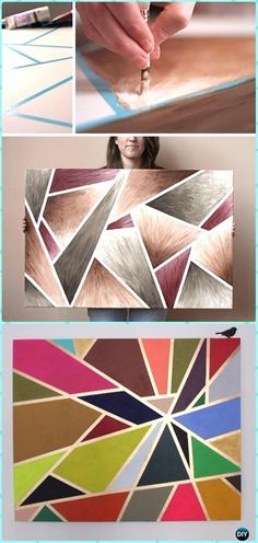DIY Geometric Tape Painting Canvas Art Instructions – DIY Canvas Wall Art Ideas Tutorials You are in the right place about christmas eve Here we … Diy Canvas Art, Diy Wall Art, Diy Art, Canvas Wall Art, Canvas Ideas, Canvas Paper, Art Crafts, Crayon Canvas Art, Tape Wall Art