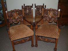 R J Horner Pierced Carved Griffin Chairs. Heavily Carved Backs, some of the Best! Set of 6, 2 Arm Chairs, 4 Side Chairs. Excellent Restored Condition.