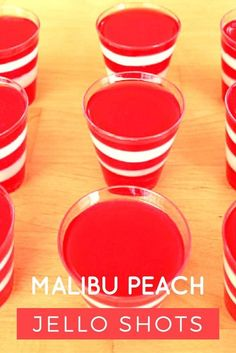 A Malibu Peach Jello Shot is arum-basedcocktail typically served in aShot Glass.It is asimplemixed drink with 3 ingredients. Follow the cocktail recipe below to learn how to make a Malibu Peach Jello Shot.