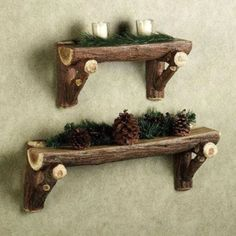 Timber Log Wall Shelf from Touch of Class. These are resin, but real log shelves would be cool. Love the idea.Rustic Timber Log Wall Shelf from Touch of Class. These are resin, but real log shelves would be cool. Love the idea.