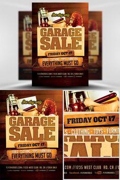 Flyer Template - Garage Sale Neighborhood Garage Sale, Chamber Of Commerce, Flyer Template, Templates, Stencils, Vorlage, Models