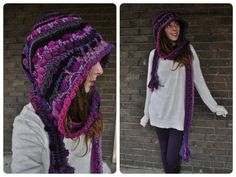 Blacks, purples, and magentas combine to form this ah-mazing hooded scarf! This is definitely one of my favorite color combos :) This hood is insane! it