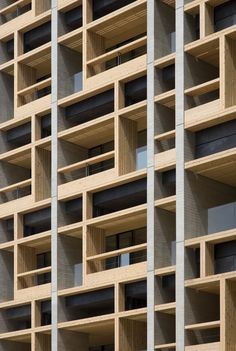 Mokuzai Kaikan / Tomohiko Yamanashi (Nikken Sekkei) + Takeyuki Katsuya (NSD) photo by Kazushige Sumi Detail Architecture, Japanese Architecture, Contemporary Architecture, Interior Architecture, Contemporary Apartment, Facade Design, Exterior Design, Facade Pattern, Wood Cladding