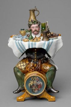 German Tantalus drinking vessel made by Christoph Gandtner ca,1580/1590, the head is removable and acts as a stopper.