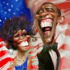 Karikatur von Barack Obama und Michelle Obama