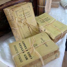 3 Yellow French Vintage Books Shabby Chic by 3rdshelffromthetop, $10.00
