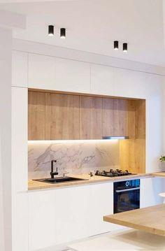 Minimal Kitchen Design, Kitchen Room Design, Contemporary Kitchen Design, Kitchen Cabinet Design, Minimalist Kitchen, Home Decor Kitchen, Kitchen Layout, Interior Design Kitchen, Home Kitchens