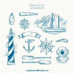 Main phare dessiné avec le bateau et d'autres éléments de marin Vecteur gratuit