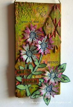 PaperArtsy: Sue Carrington  Art In Bloom .... using Fresco Finish Acrylic Paints, Grunge Paste & Eclectica³ stamps.