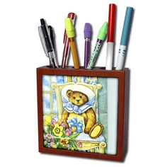 3dRose ph_34905_1 Teddy Bear on Chair-Tile Pen Holder, 5…