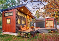 """601 Likes, 14 Comments - Dream Big Live Tiny® Co. (@dreambiglivetiny) on Instagram: """"This gorgeous tiny house is composed of two structures: a main house on a foundation and a trailer,…"""""""