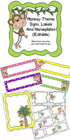 Monkey Theme Classroom! Editable Signs, Labels, Binder Covers and Nameplates.