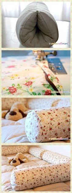 Need ideas of what to do with old pillows? Well if you're a crafter or seamstress, don't throw them away! Make your own neck roll or bolster pillow fillers by stitching together an old pillow lengthwise or width wise.