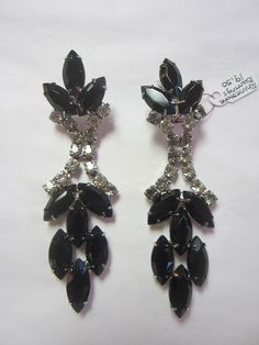 Vintage Black & White Rhinestone Clip Earrings.