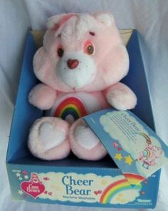 Vintage 1985 Plush CHEER BEAR Care Bears MIB with Hangtag KENNER  for Info