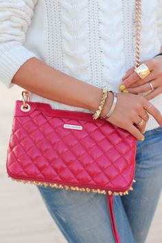 Quilted & studded & bright, oh my! #accessories #bag #pink