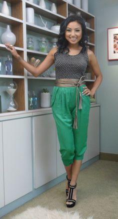 Dot Tank Top | Wide Tassel Belt | Green Capri Pant | (Jeannie Mai)