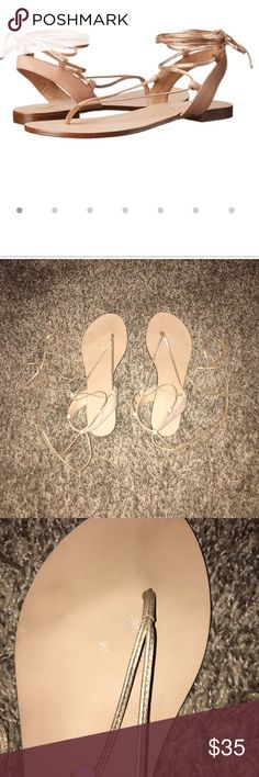 Lace up sandal Splendid lace up rose gold sandal. Left shoe has a scratch near the thong part of the sandal. Straps are 100% leather. Very comfortable. These do have some wear but still have a ton left!! Great for summer and goes with everything!!! Splendid Shoes Sandals