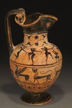 Etruscan 'Pontic' Trefoil Oinochoe (Brown Period) On the shoulder is a frieze… Lotus Bud, Black Figure, Corinthian, Terracotta, Sculptures, Ceramics, Antiques, Lions, Statues