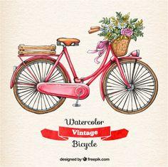 Aguarela da bicicleta do vintage Vetor grátis