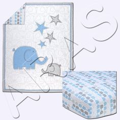Elefant Blau 2-Piece (Comforter & Fitted Sheet) Crib Bedding Set by Zutano  Bab Baby Girl Bassinet, Baby Cribs, Baby Crib Bedding Sets, Baby Pillows, Bed Sets For Sale, Portable Bed, Cotton Baby Blankets, Unisex Baby, Comforter