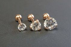 Rose Gold Triple Helix Stud Cartilage Earrings by MidnightsMojo