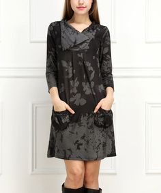 Look what I found on #zulily! Black & Charcoal Shawl-Collar Shift Dress #zulilyfinds