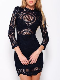 Black, Lace, Long Sleeve, Bodycon Dress