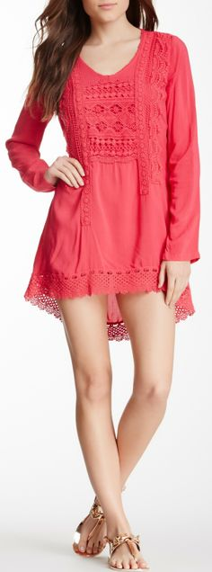 Crochet Trim Tunic Dress