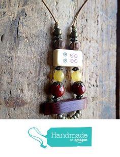 Necklace, Handmade, Beaded, Vintage Bone Mahjong, Czech Crystal, Organic Wood, Brass, Leather Cord, Red, Yellow, Gold from ART::WEAR Necklaces by Cherie Lester https://www.amazon.com/dp/B01M9HSE9B/ref=hnd_sw_r_pi_dp_EztHybK48WJ4E #handmadeatamazon