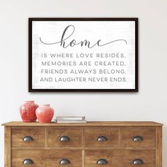 Home Is Where Love Resides sign makes the perfect family welcome sign, to brighten up any room in the home.