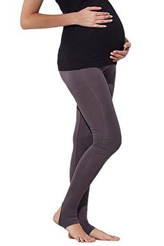 3ff881a00901a Sweet Mommy Maternity Bamboo Fiber Leggings Stirrup TR Charcoal, L
