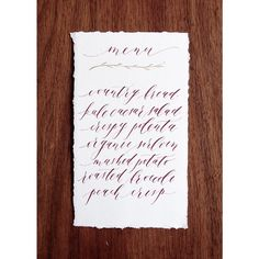 Calligraphy Menu - Deep red and gold ink. By Cast Calligraphy & Design - Bozeman Montana