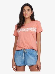 roxy, Heritage Floral Boyfriend T-Shirt, TAWNY ORANGE (mkd0) Boyfriend T Shirt, Roxy, V Neck, T Shirts For Women, Orange, Tees, Floral, Womens Fashion, Fun Stuff