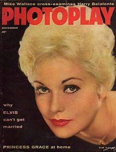 Kim Novak on the cover of Photoplay magazine, US, November 1957.