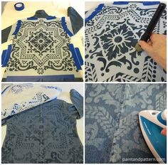 Before and After DIY Steps for stenciling an old denim jean fabric jacket with - Jeans Jacket - Ideas of Jeans Jacket - Before and After DIY Steps for stenciling an old denim jean fabric jacket with Discharge Paste Vetements Shoes, Diy Vintage, Before And After Diy, Denim Art, Diy Vetement, Jeans Fabric, Mode Jeans, Denim Ideas, Denim Crafts