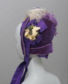 Bonnet, circa 1880, New York, via the Museum of Fine Arts, Boston.  Purple velvet bonnet trimmed with purple and light lavender ostrich feathers.